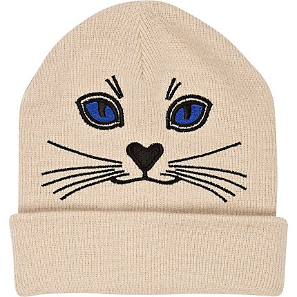 Cream cat face beanie hat