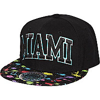 Black Miami paint splash print trucker hat