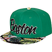 Green Boston floral peak trucker hat