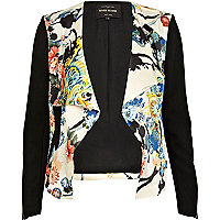 Black oriental print waterfall biker jacket