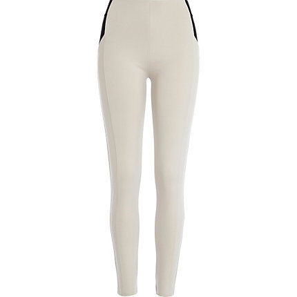 Beige contrast panel high waisted leggings