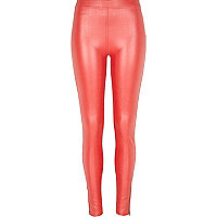 Red coated denim-look leggings