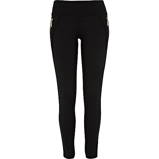Black high waisted zip leggings