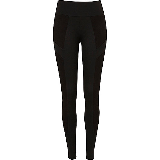 Black contrast ribbed panel leggings