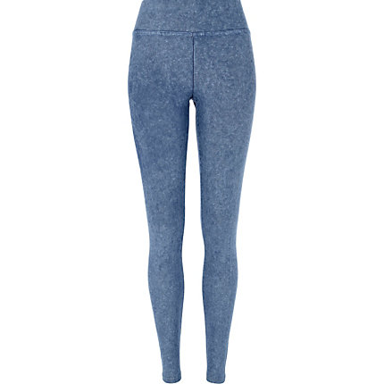 Blue denim-look high waisted leggings