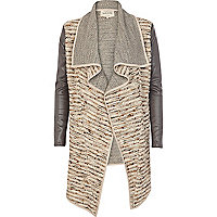Cream boucle longline waterfall biker jacket
