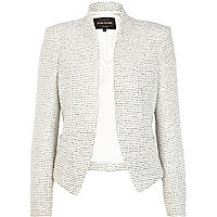 White structured cropped jacket