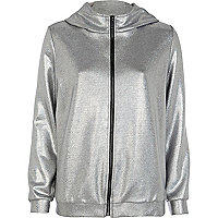 Silver hooded bomber jacket