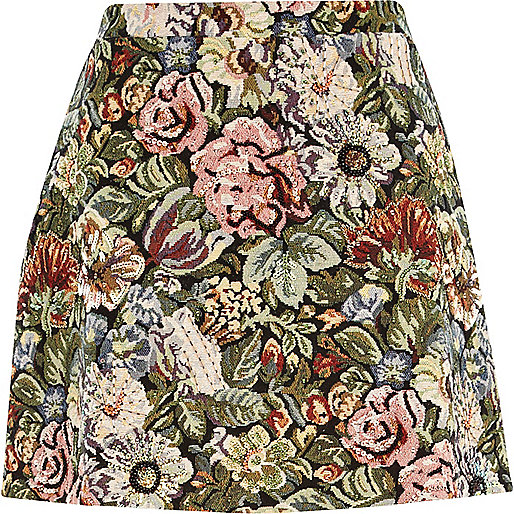Green tapestry A line skirt