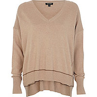 Brown elbow patch oversized jumper