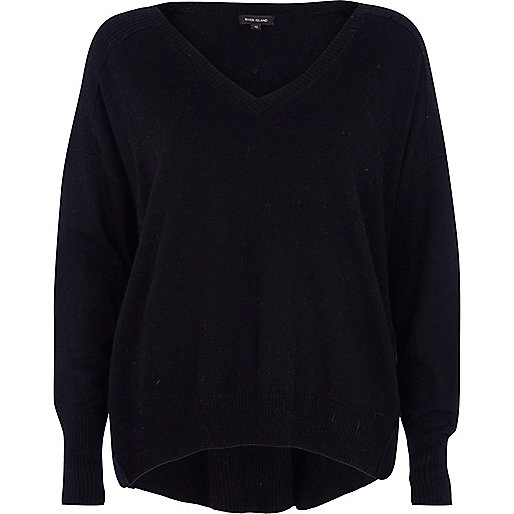 Black elbow patch oversized jumper