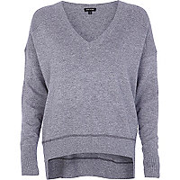 Grey elbow patch oversized jumper