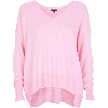 Pink oversized V neck jumper