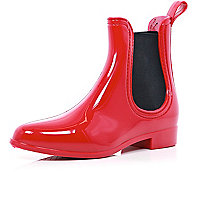 Red high shine chelsea boot wellies
