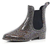 Silver glitter chelsea boot wellies