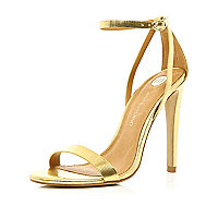Gold barely there stiletto sandals