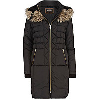 Black padded faux fur high neck jacket
