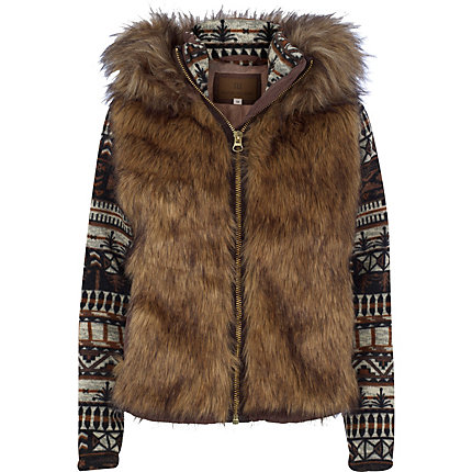 Brown faux fur body aztec sleeve jacket