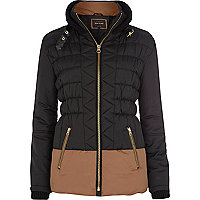 Black padded colour block jacket