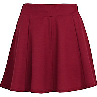 Dark pink panelled skater skirt