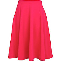 Bright red midi skater skirt