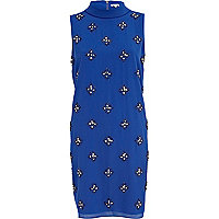 Blue embellished turtle neck shift dress