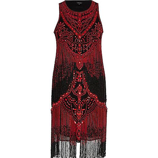 Red beaded fringe shift dress