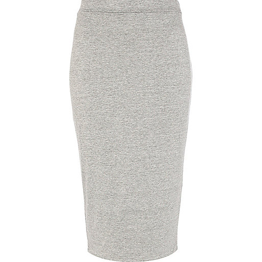 Grey marl double layered pencil skirt
