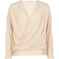 Beige wrap blouse