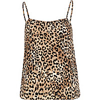 Brown leopard print cami top