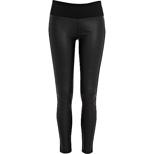 Black leather-look front high waist leggings