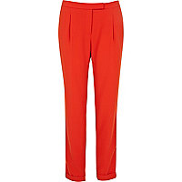 Red tapered smart trousers