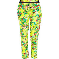 Green tropical print smart trousers