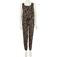 Black floral print racer back jumpsuit