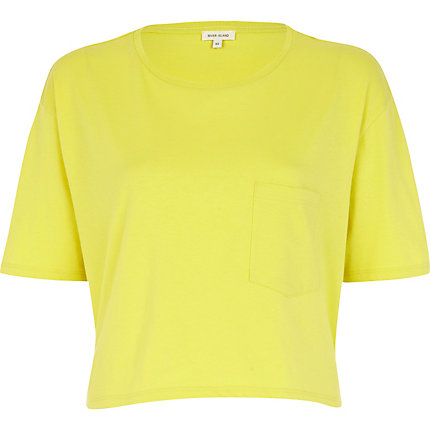 Lime patch pocket cropped t-shirt