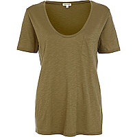 Khaki marl low scoop neck t-shirt