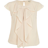 Cream bubble hem bow blouse