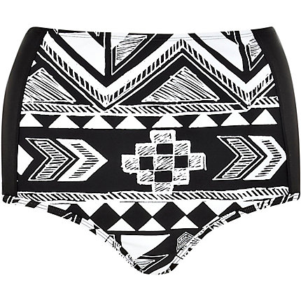Black aztec high waisted bikini bottoms