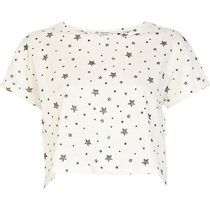 Cream star print cropped t-shirt