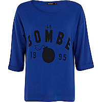 Blue brushed Le Bombe print sweatshirt
