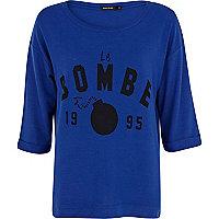 Blue brushed Le Bombe print sweatshirt