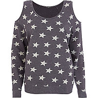 Grey star print cold shoulder sweatshirt