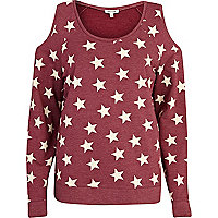 Red star print cold shoulder sweatshirt