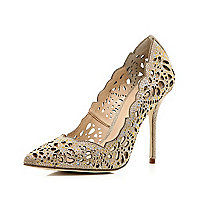 Gold laser cut embellished court shoes