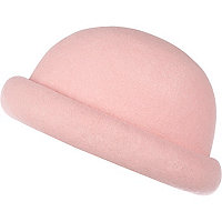 Light pink rolled brim bowler hat