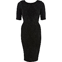 Black sparkle midi dress