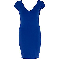 Bright blue V neck bodycon dress