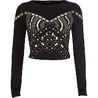 Black embellished crop top