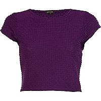 Purple textured cap sleeve crop top