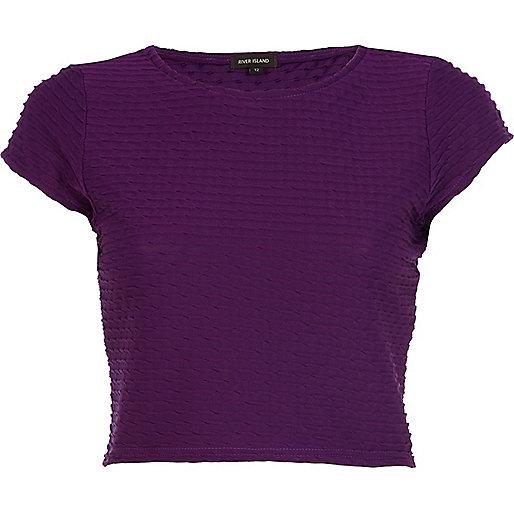 Purple textured cap sleeve crop top
